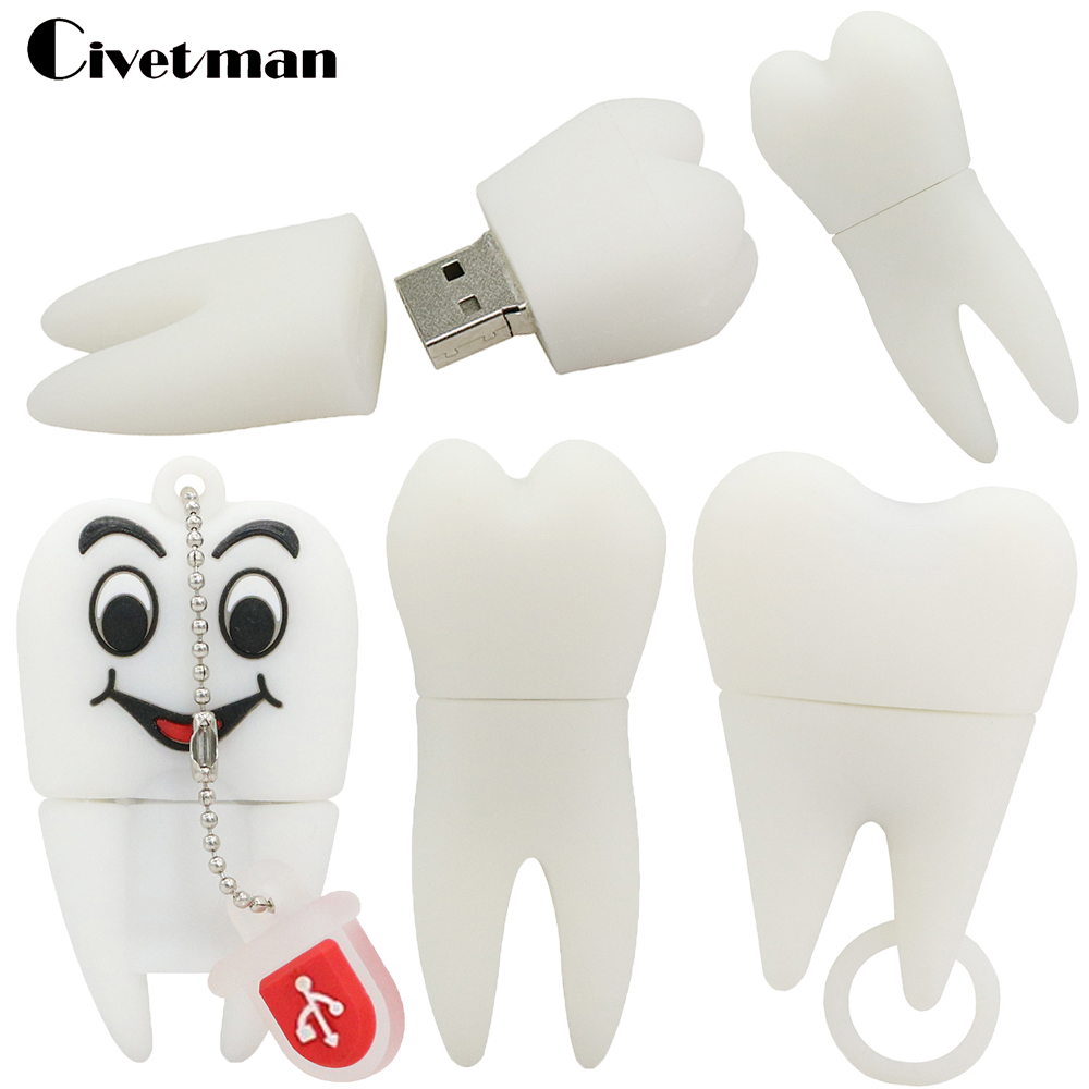 Real Capacity Tooth Shape USB Flash Drives 4GB 8GB 16GB 32GB 64GB Teeth Pen Drive USB Disk Flash Memory Stick External Storage