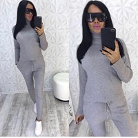 Winter Causal Knitted Warm Sports Suit 2 Pieces Loose Turtleneck Sweater+ Harem Sweater Pants Suits Solid Knit Two piece Sets