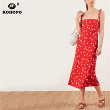 ROHOPO Female Red Spaghetti Strap Midi Dress Printed Vintage Casual Baggy Pleated Party #YY030H