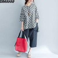 Dimanaf الصيف قميص المرأة زائد حجم القطن الإناث قمم المحملات الملابس عارضة البولكا نقطة فضفاضة الزى 2018 قصير كم t-shirt