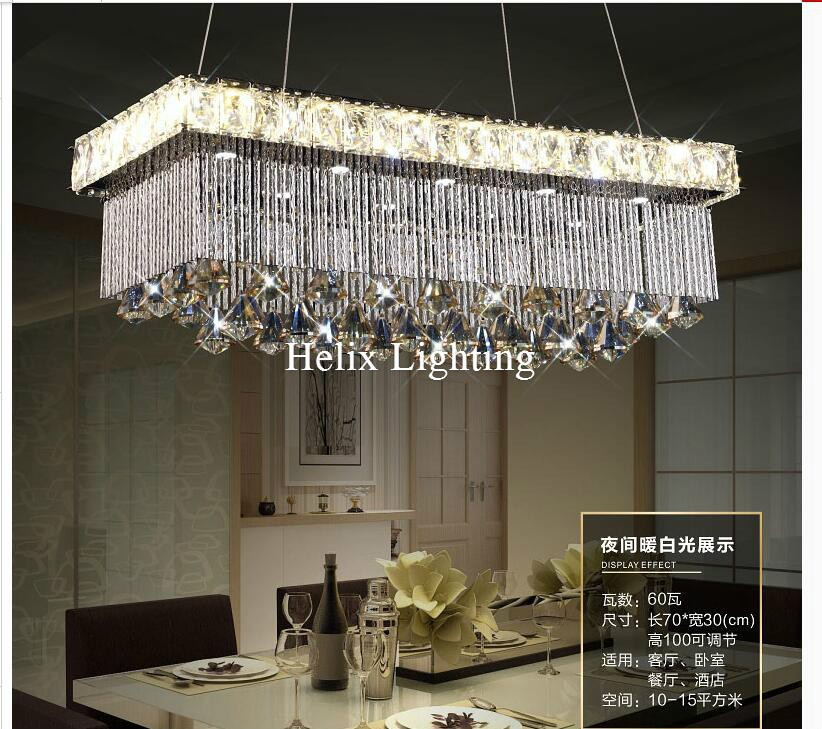 New Luxury L700mm W300mm LED Luxury Modern European Top K9 Champagne Crystal Pendant Light Hotel Hall Living Room Dining Room AC z modern european restaurant crystal pendant light luxury e27 led hall lamp art creative bedroom living room indoor lighting