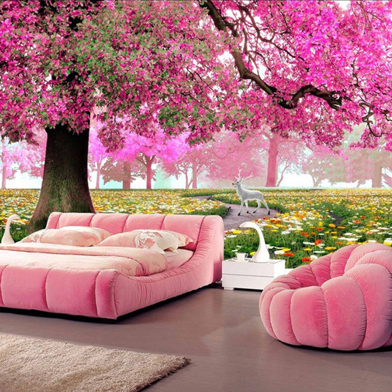 Custom Any Size 3D Romantic Pink Woods Mural Home Decor Wall Paper Roll Bedroom Living Room Sofa Background Wall Covering Murals