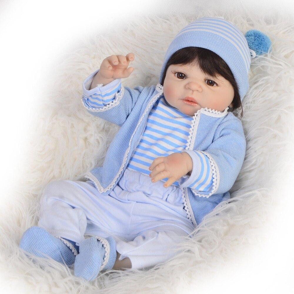 57CM SIlicone complet vinyle corps renaître bébés poupée Bebe vivant mignon garçon se baigner jouets fête d'anniversaire cadeau enfant en bas âge poupée fille paly Bonec