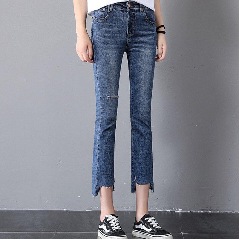 JUJULAND Women   Jeans   Plus Size Female Stretch Slim Denim Flares Pants Breathable Fashion Bell Bottom Trousers 8237