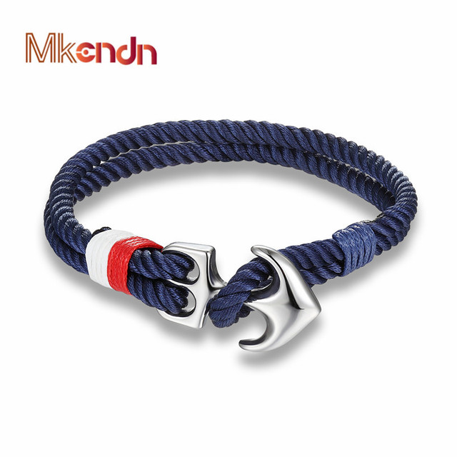 Mkendn High Quality Anchor Bracelets Men Charm Nautical Survival Rope Chain Paracord Bracelet Male Wrap Metal