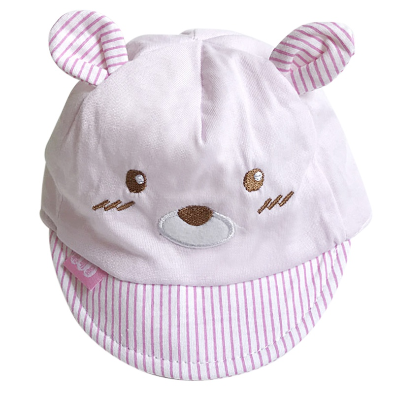 Bear Face Newborn Baby Baseball Cap - Pink Stripes