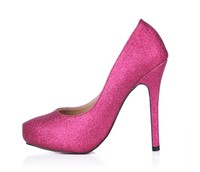 Large Size Bling Bling Women Hot Pink Gold High Heels Party Wedding Dress Pumps Slip On