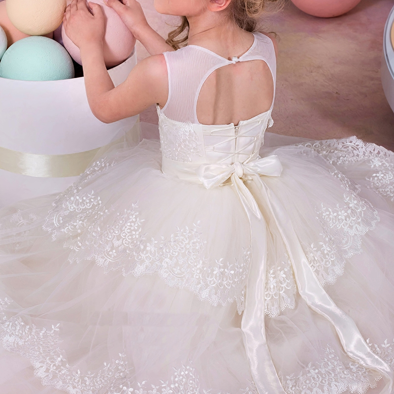 New Flower Girl Dresses with Appliques Bow Little Girls Kids/Child Dress Princess Party Pageant Communion Dress for Wedding