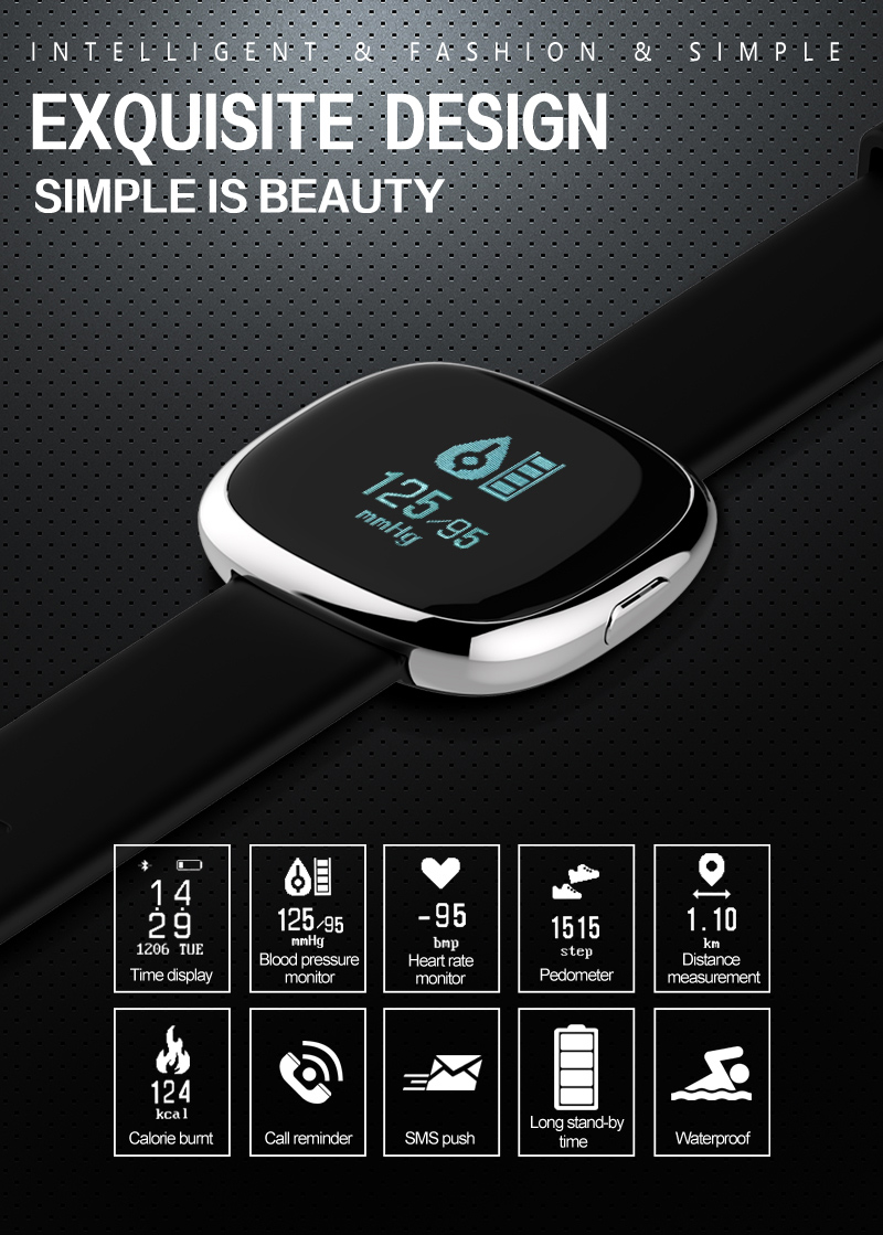Heart Rate Pulse Monitor Smart Band Sleep Fitness Tracker Blood Pressure Bracelet Pedometer for Andriod IOS iPhone 7 Meizu Watch 3