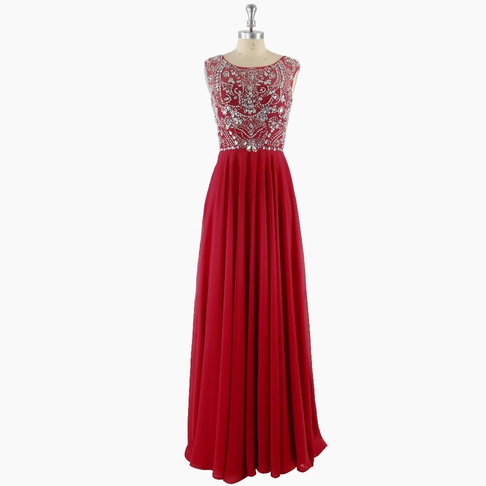 Red Beading Scoop Neck Sleeveless Floor-length A-line Chiffon   Prom     Dresses   Formal 2017