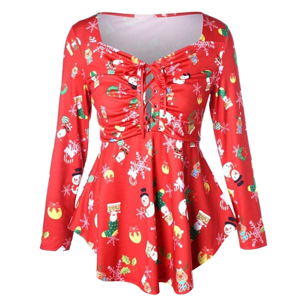 De Larga Túnica Moda Mujeres 2019 Navidad Blusa Vintage Red Manga Para Ropa Tops Mujer Streetwear 0EqqvwxB