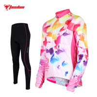 Tasdan Women Cycling Jersey Set Long Sleeve Winter Racing Team Sports Wear MTB Road Bicycle Bike Jersey Cycling Clothing