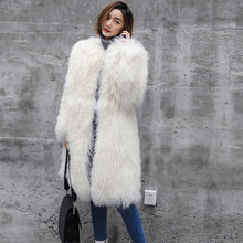 RUssian Style Fashion alluring lady X-long real lamb fur trench coats outerwear Customzied color size real fur coats