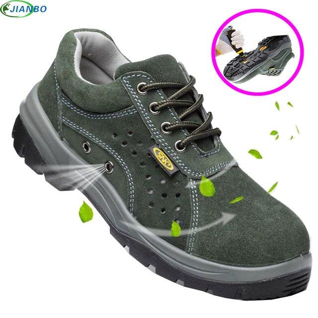 Yaz iş ayakkabısı Nefes Güvenlik Botları Paslanmaz Çelik Bilezik Ayak Hakiki deri ayakkabı Erkekler Rahat Koruyucu Ayakkabı Erkek