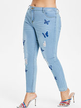 Plus Size Butterfly Embroidered High Waist Denim Jeans