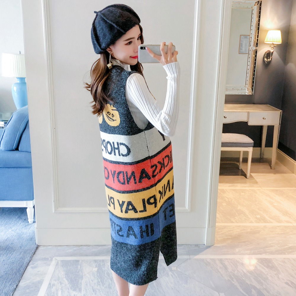 Pregnant women suit Autumn 2018 new loose fashion models pregnant Korean version of casual knit two-piece out