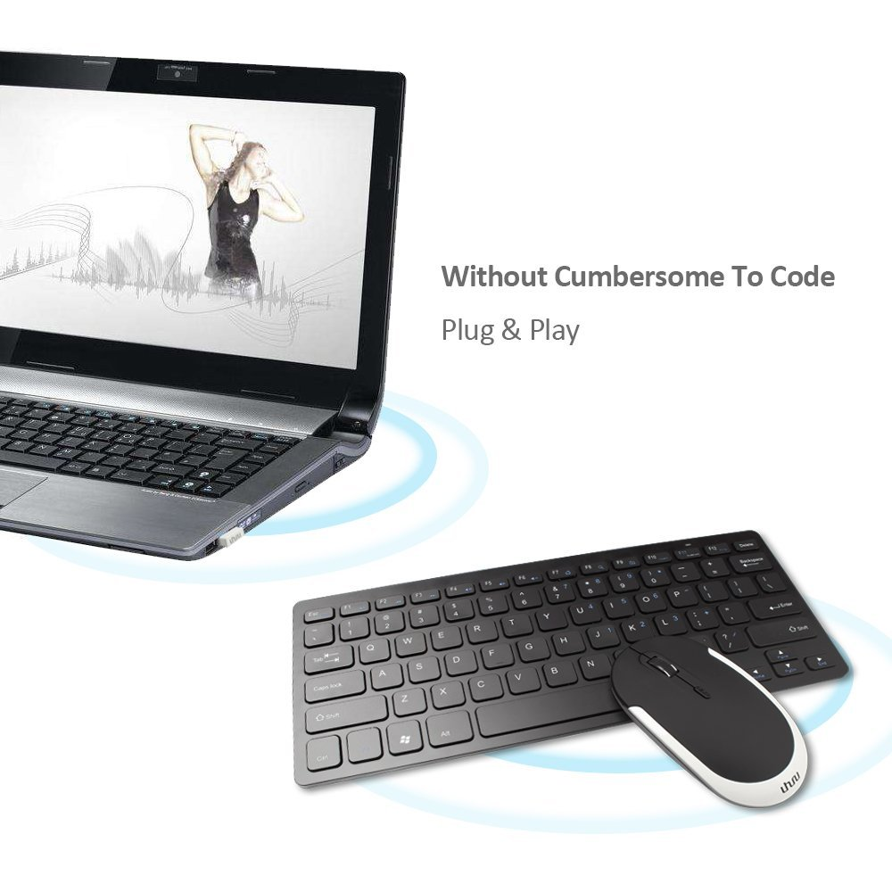 UHURU 2.4G Ultra Thin Wireless Keyboard with Silent Mouse Combo for Laptop, Desktop, Table, PC and Smart TV