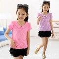 Desgaste de Los nuevos Niños Del Verano de Encaje de manga Corta Girls Corea Solapas Camiseta de Los Niños Ropa de Algodón 4 Color