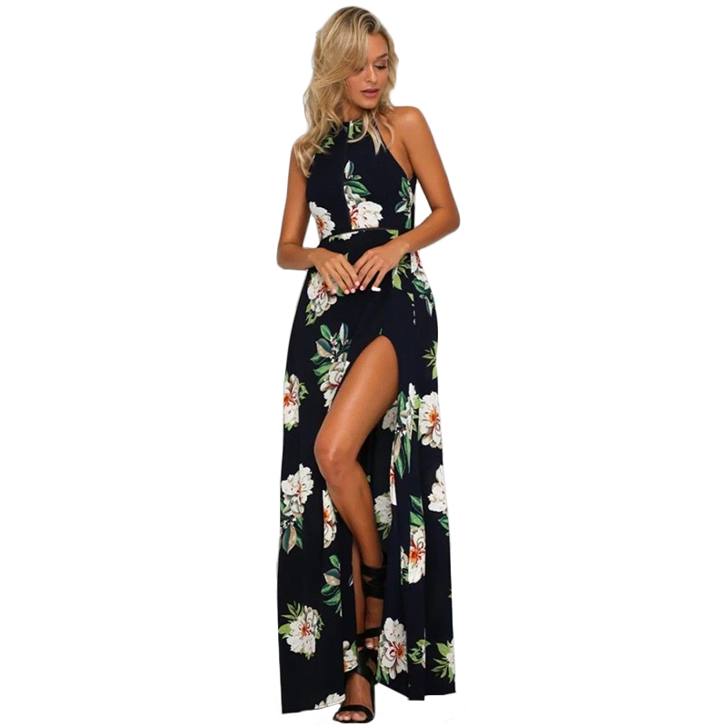Chiffon Summer Dress Women 2018 Sexy Split Backless Maxi Beach Dess Elegant Halter Print Floral Party Dresses Female vestidos