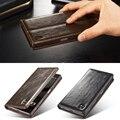 Casos de telefone de luxo para sony xperia z5/z5 compact/z5 premium da marca original de couro genuíno auto magnet virar wallet case capa