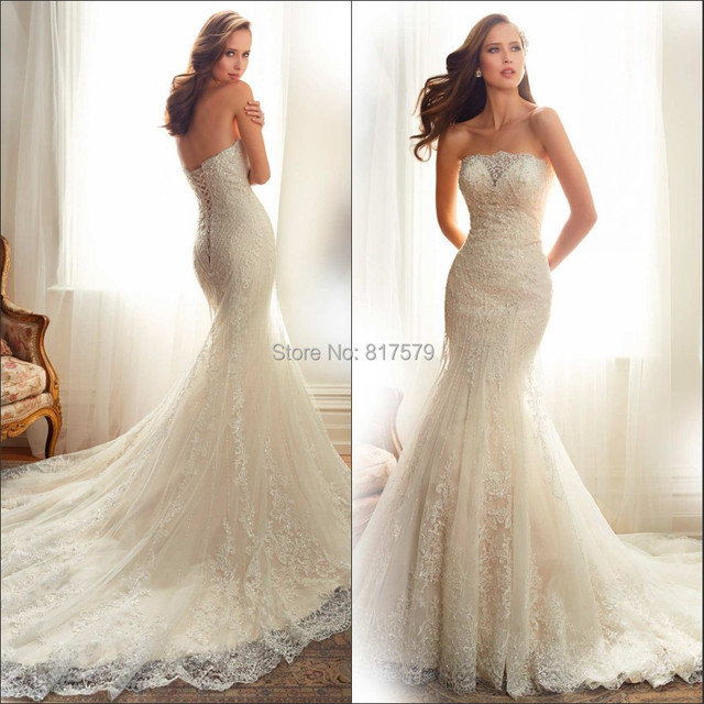 2015 High Quality Vestidos Strapless Applique Backless Tulle And ...