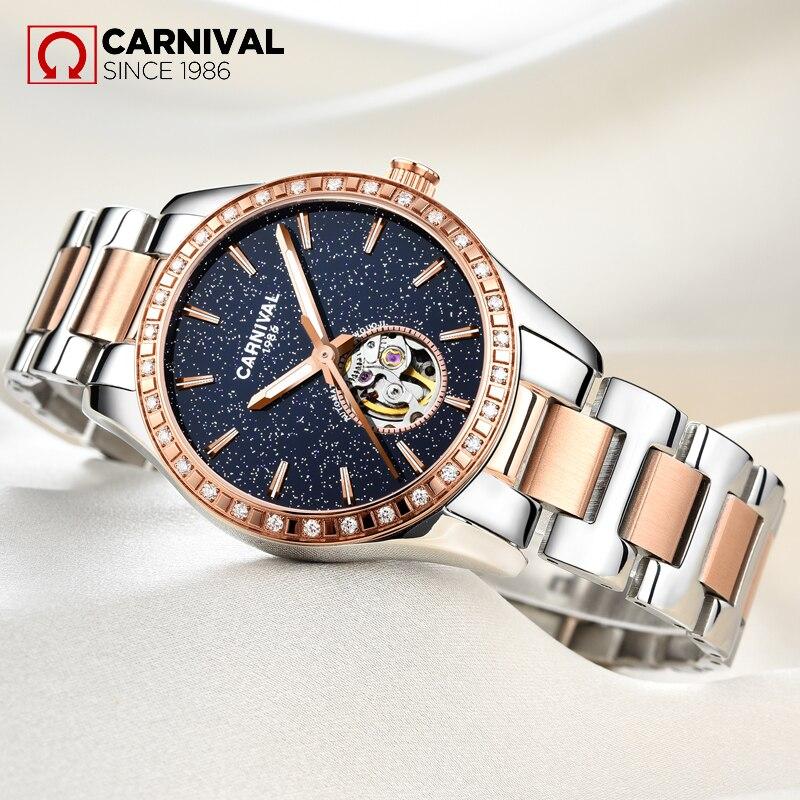 CARNIVAL Skeleton Star s Dial Diamond Case Women Watch TopBrand Luxury Waterproof Luminous Fshion Lady s
