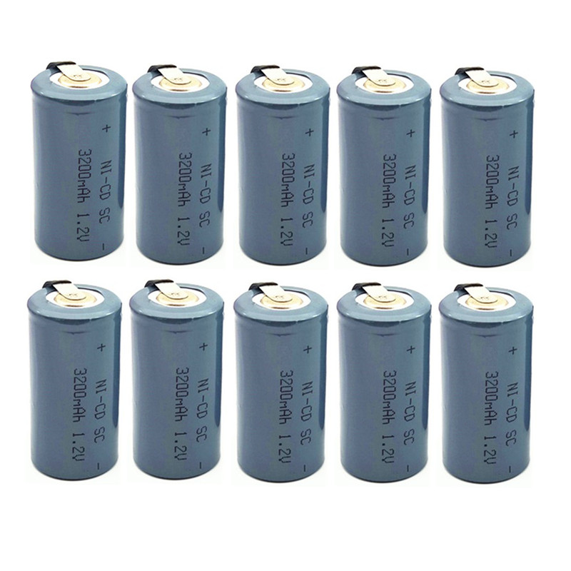 10pcs 3200mah SC 1.2V High Quality Ni-CD Battery Sub C SC 22420 With An Extension Cord Processed Into Tools Battery Pack