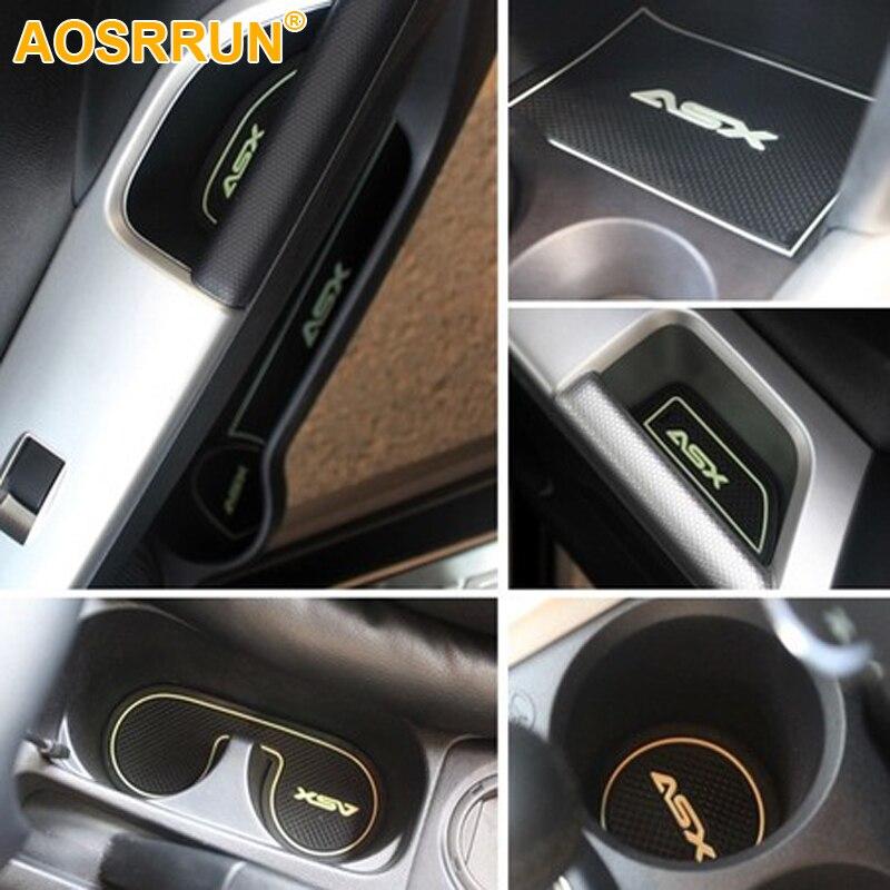 AOSRRUN Freies verschiffen rutschfeste innentür pad/tasse matte tür tor slot mat für Mitsubishi ASX 2012-2018 auto zubehör