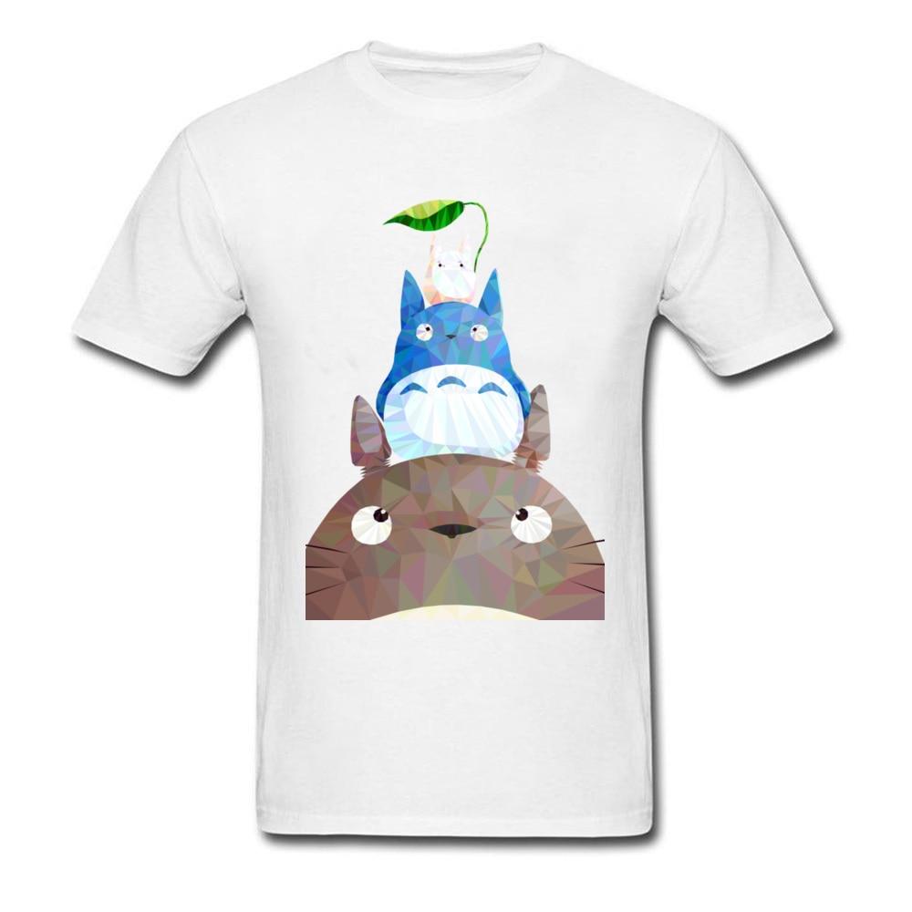 My Neighbor Low Poly Totoro Cartoon Tee Shirt Men Cute T-shirts Fashion Geometric Cotton Short Sleeve Clothing