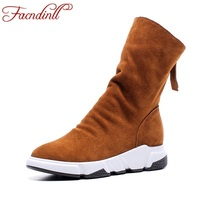 FACNDINLL High Quality Brand Ankle Boots Women Fashion Genuine Leather Australia Classic Women S Wedge Boots