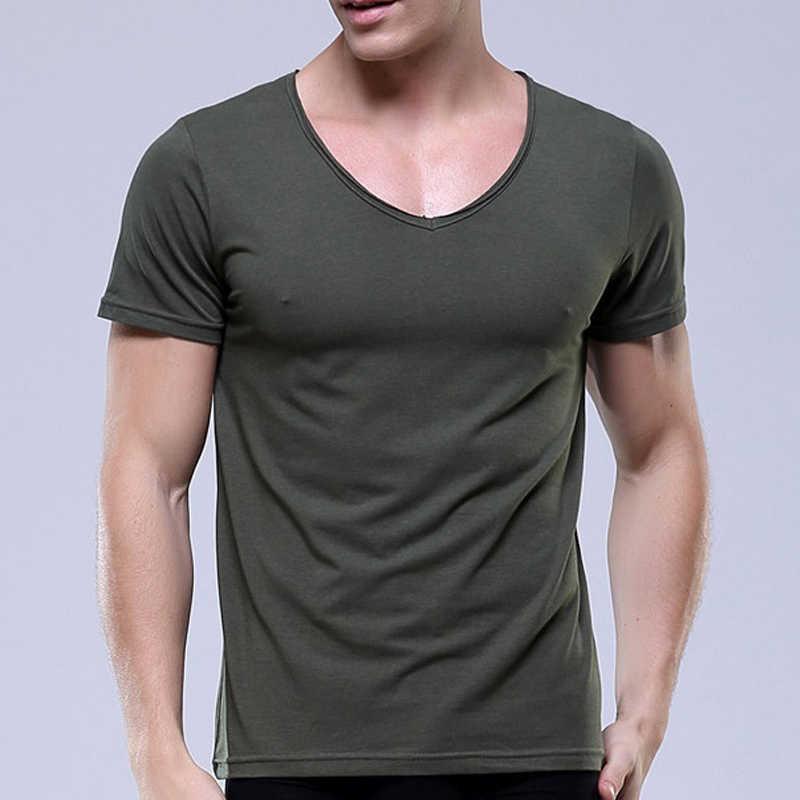 e8427f1b31e3 ... Uwback 2017 New Brand Modal T Shirt Men Plus Size High Elasticity Deep V -Neck ...