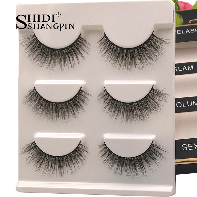 New 3 Pairs Natural False Eyelashes Fake Lashes Long Makeup 3d Mink