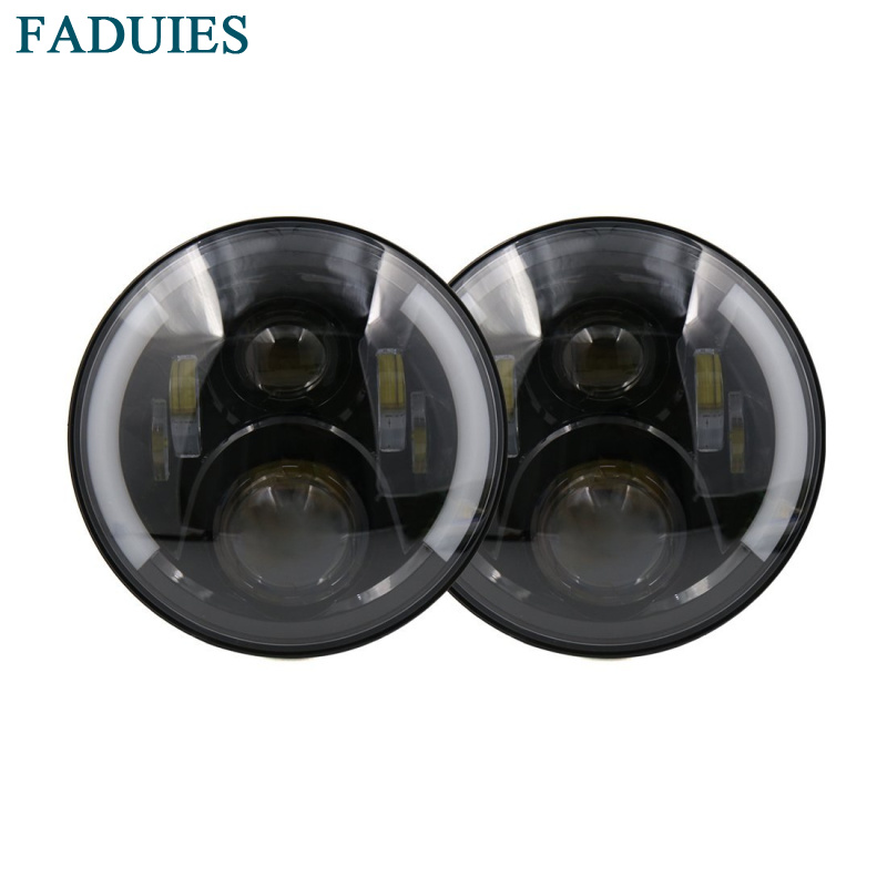 FADUIES 2psc 7 Inch 60W Round LED Headlights Halo Angle Eyes + Yellow Turn Signal For 97-16 Jeep Wrangler JK LJ TJ Black