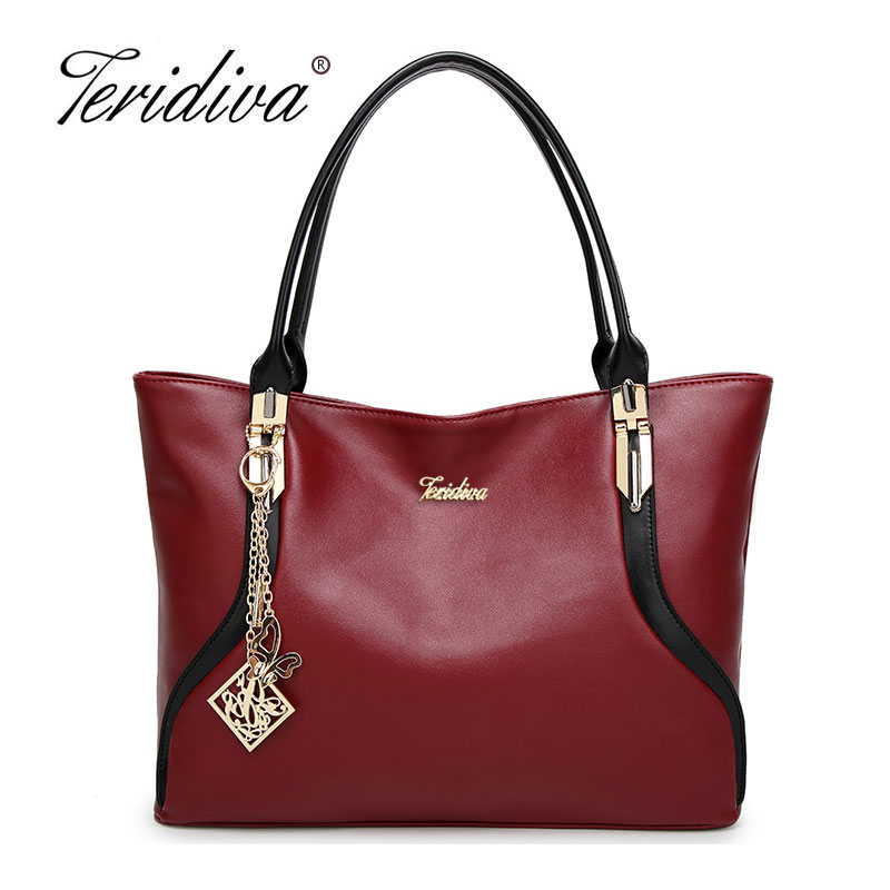 Teridiva High Quality PU Leather Women Shoulder Bags Big Tote Bag Large Capacity Tote Famous Brand Bolsos  Patchwork Handbag hengfang 52135 princess style water resistant eyeliner gel w brush black