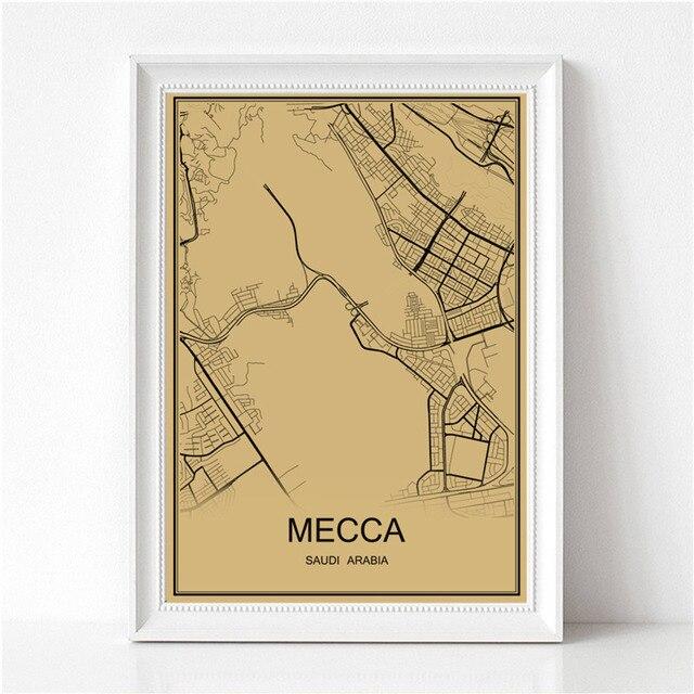 Hot sale MECCA Vintage poster Krafts paper World map Retro painting ...