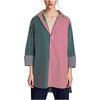 נימפה נשים ניו חולצות 2017 חולצות פסים V-צוואר ארוך שרוול אביב ובסתיו מזדמן נשים אדום ירוק פסים חולצות חולצות Blusas