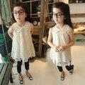 Бесплатная доставка детская одежда летняя девушка моды кружева платье девушки симпатичные принцесса без рукавов цельный платье жемчужина платье