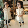 O envio gratuito de crianças roupas de verão menina moda rendas vestido da menina bonito da princesa mangas one piece-vestido de pérolas vestido