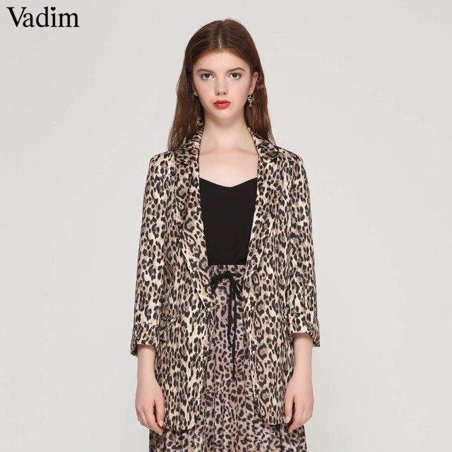Vadim mujeres vintage leopardo blazer bolsillos cuello entallado manga larga abrigo femenino moda casaco tops femeninos CA076