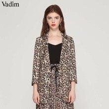 Vadim ผู้หญิง vintage leopard blazer กระเป๋า Notched collar เสื้อแขนยาวหญิง outerwear แฟชั่น casaco ผู้หญิงเสื้อ CA076