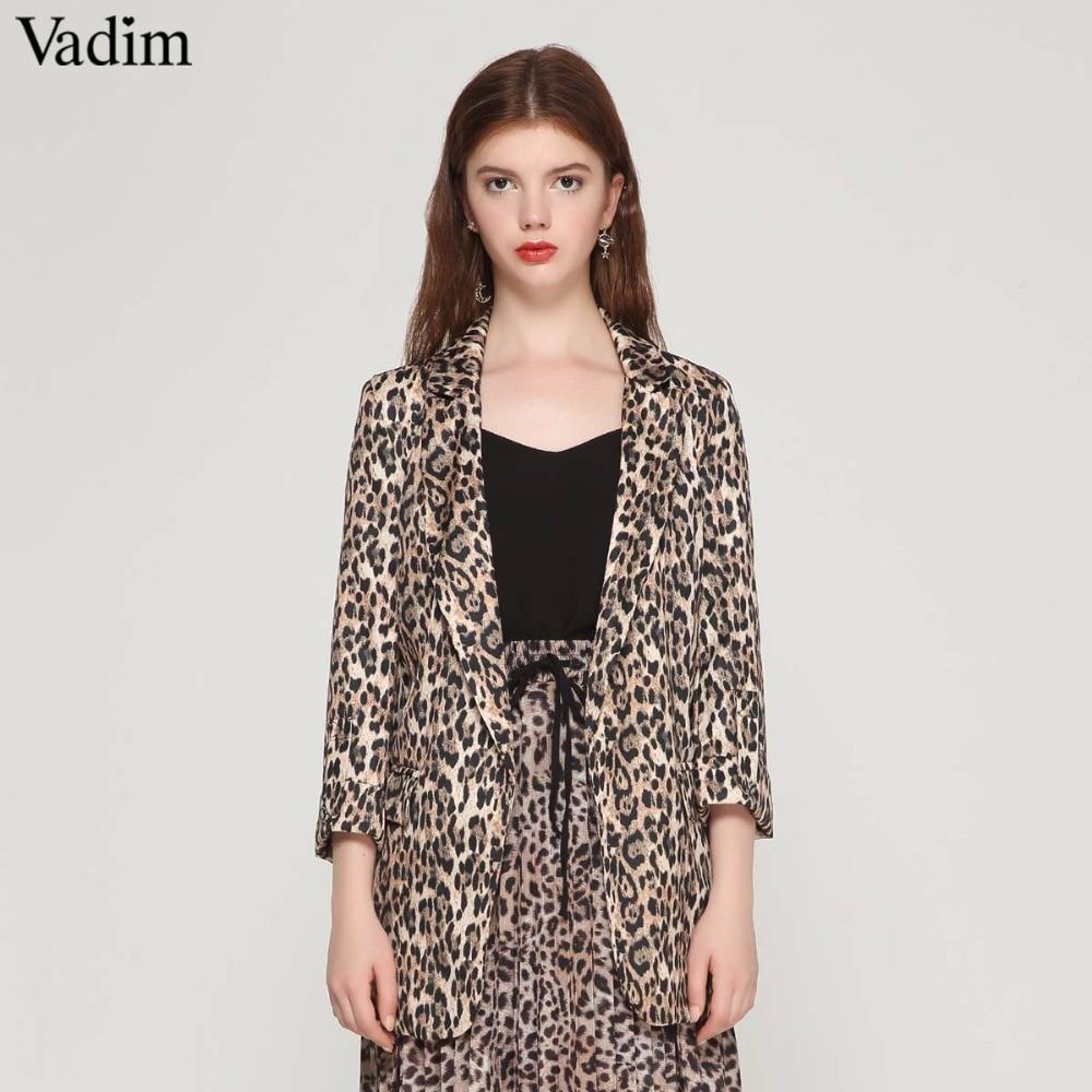 Vadim Women Vintage Leopard Blazer Pockets Notched Collar Long Sleeve Coat Female Outerwear Fashion Casaco Feminine Tops Ca076