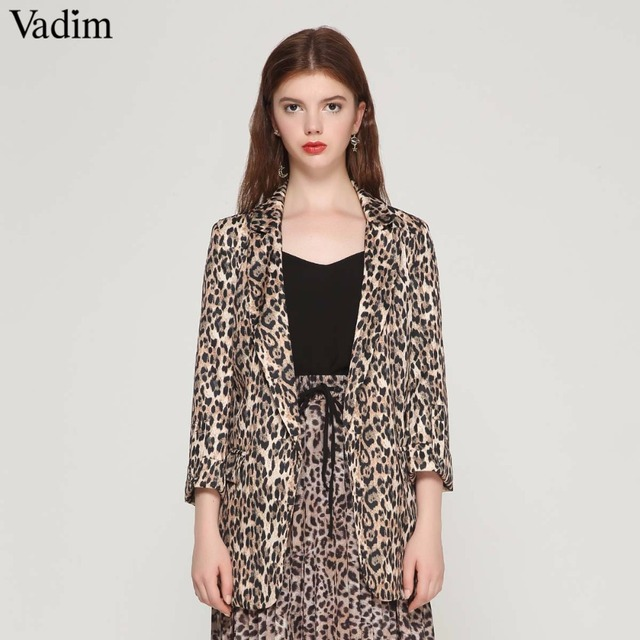 Vadim women vintage leopard blazer pockets Notched collar long sleeve coat female outerwear fashion casaco feminine tops CA076