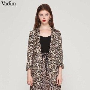 Image 1 - Vadim נשים בציר נמר בלייזר כיסי מחורצים צווארון ארוך שרוול מעיל נשי הלבשה עליונה אופנה casaco נשי חולצות CA076