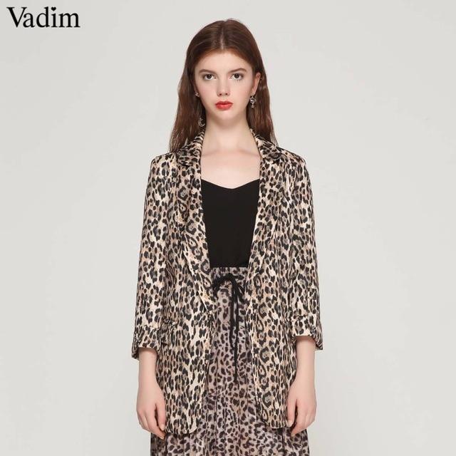 Vadim נשים בציר נמר בלייזר כיסי מחורצים צווארון ארוך שרוול מעיל נשי הלבשה עליונה אופנה casaco נשי חולצות CA076