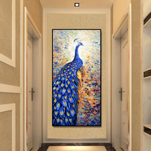 Abstract Animals Oil Painting Wall Art Posters and Prints on Canvas Beautiful Peacock Pictures for Living Room Decor No Frame