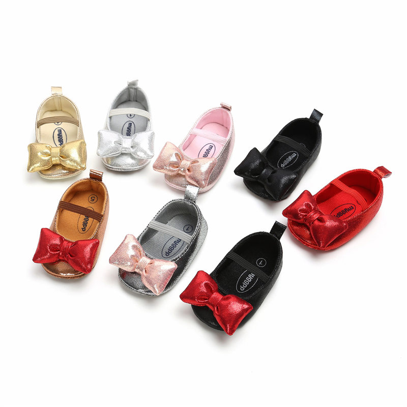 Baby Girls Shoes Cute Bowknot Newborn First Walker Birthday Party Red Shoes
