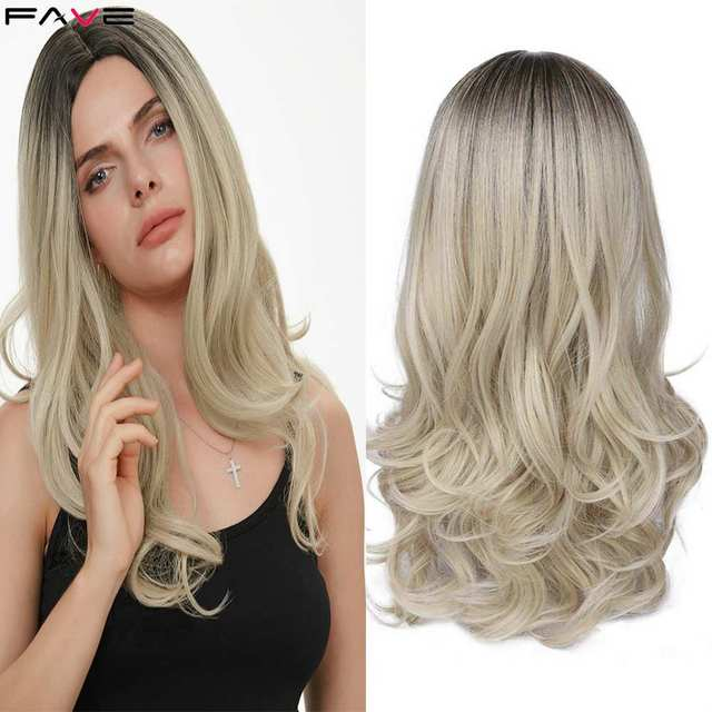 Mixed Black Ash Light Brown Blonde Synthetic Wig Body Wave Middle Part Heat Resistant Fiber For Black Women Cosplay Long Wigs 1