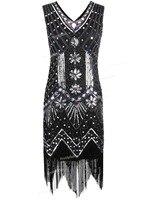 PrettyGuide Women 1920s V Neck Beaded Sequin Art Deco Gatsby Inspired Flapper Dress Great Gatsby Party