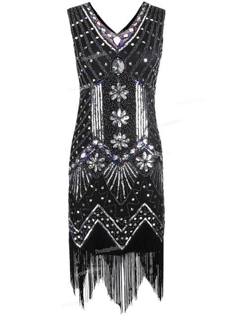 PrettyGuide Mulheres 1920 s V Neck Frisado Lantejoula Art Deco Vestido Grande Gatsby Flapper Gatsby Inspirado Vestido de Festa