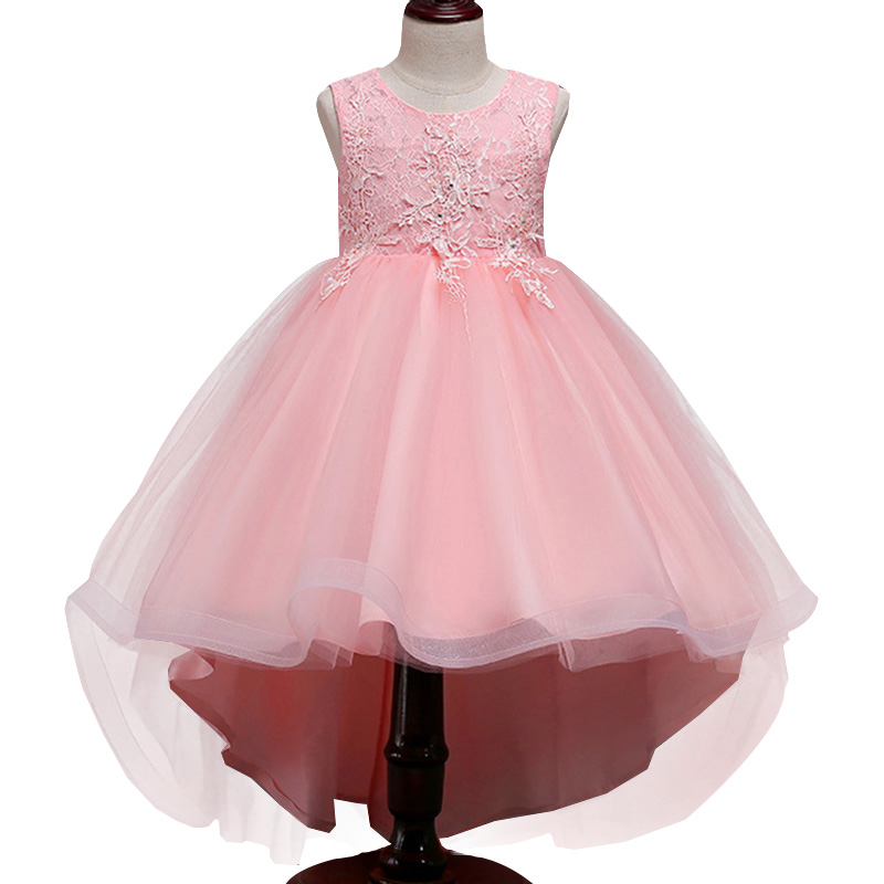 Trailing lace   dress   ladies   flower     girl     dresses   children elegant   dress   first communion princess ball gown kids vestido comunion